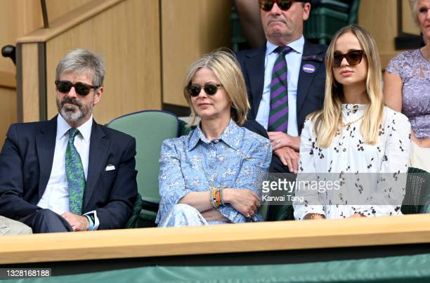 Timothy Taylor, Lady Helen Taylor and Amelia Windsor attend Wimbledon Championships Tennis Tournament at All England Lawn Tennis and Croquet Club on...