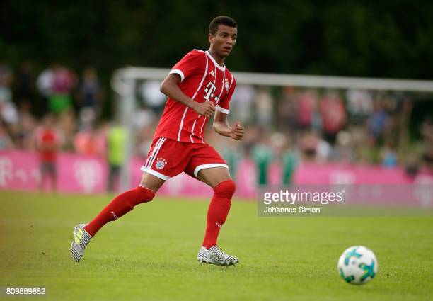 Timothy Tillman of Bayern in action during the preseason friendly match between BCF Wolfratshausen and Bayern Muenchen at on July 6 2017 in...