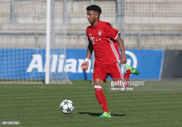 Timothy Tillman of FC Bayern Muenchen kicks the ball during the AJuniors semi final first leg German Championship match between FC Bayern Muenchen...