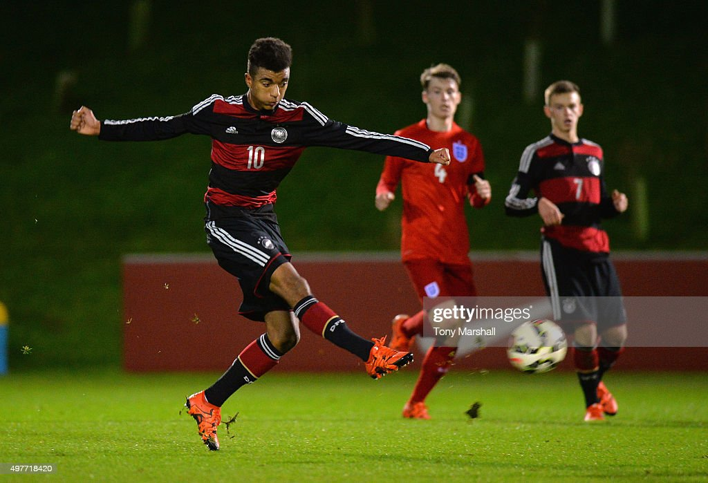 Timothy Tillman of Germany shoots at goal during the U17s International Friendly match between England U17 and Germany U17 at St Georges Park on November 18, 2015 in Burton-upon-Trent, England.
