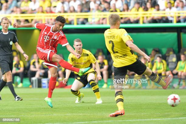 Timothy Tillman of Munich in action during the U19 German Championship Final match between U19 Borussia Dortmund and U19 Bayern Muenchen at Signal...