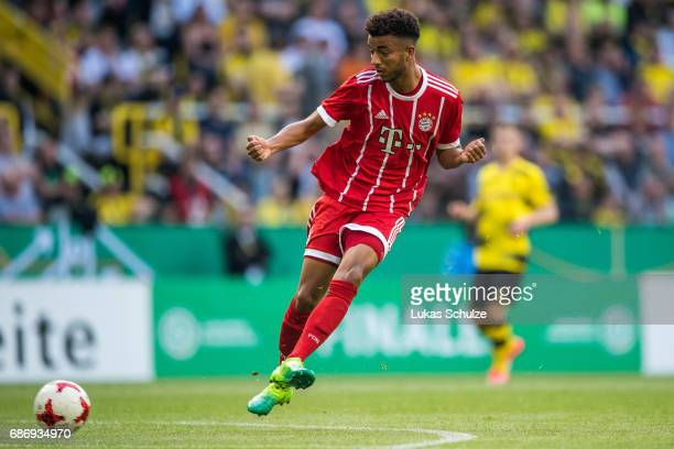 Timothy Tillman of Munich kicks the ball during the U19 German Championship Final between Borussia Dortmund and FC Bayern Muenchen on May 22 2017 in...