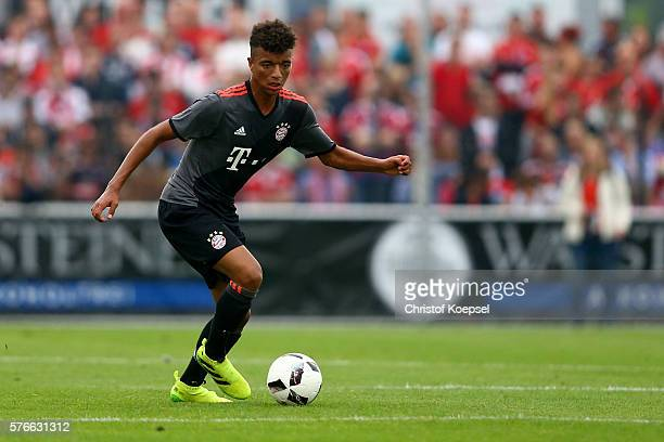 Timothy Tillmann of Bayern Muenchen runs with the ball during the friendly match between SV Lippstadt and FC Bayern at Stadion am Bruchbaum on July...