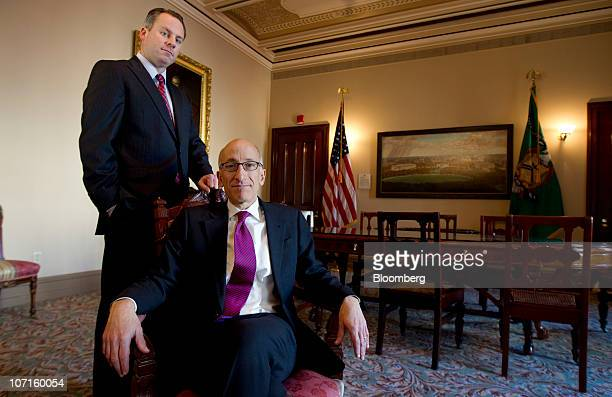 Timothy Tim Massad acting assistant secretary at the US Treasury Department's Office of Financial Stability right and David Miller chief investment...