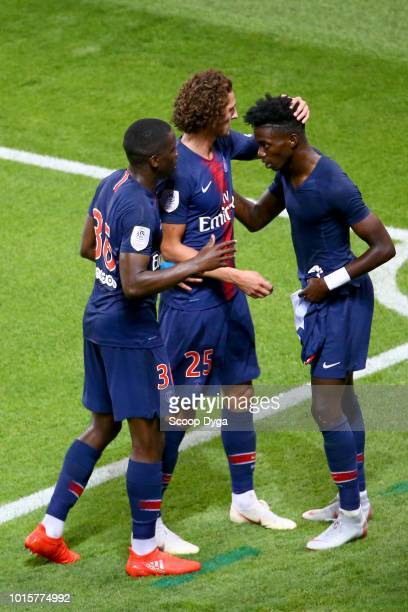 Timothy Weah and Adrien Rabiot of Paris Saint Germain during the French Ligue 1 match between Paris Saint Germain and Caen at Parc des Princes on...