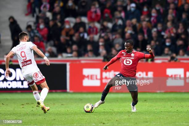 Timothy WEAH during the Ligue 1 Uber Eats match between Lille and Brest at Stade Pierre Mauroy on October 23, 2021 in Lille, France.