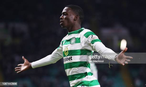 Timothy Weah of Celtic celebrates after he scores his team's fourth goal during the Ladbrokes Scottish Premiership match between Celtic and St Mirren...