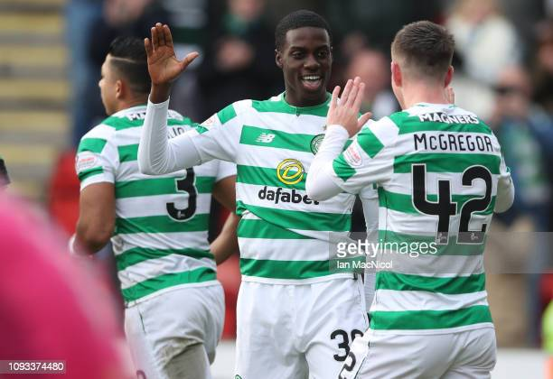Timothy Weah of Celtic celebrates after he scores his team's second goal during the Ladbrokes Premiership match between St Johnstone and Celtic at...