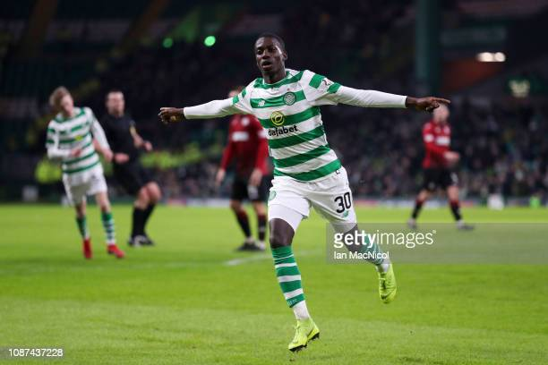 Timothy Weah of Celtic celebrates scoring his team's fourth goal during the Ladbrokes Scottish Premiership match between Celtic and St Mirren at...