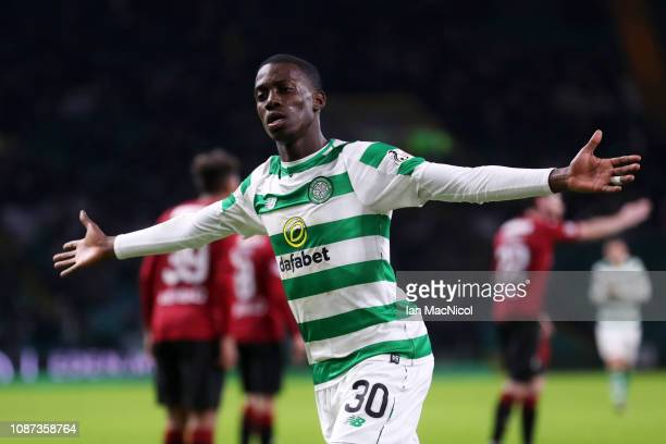Timothy Weah of Celtic celebrates scoring his team'St Mirren fourth goal during the Ladbrokes Scottish Premiership match between Celtic and St Mirren...