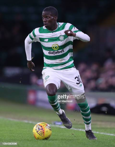 Timothy Weah of Celtic controls the ball during the Ladbrokes Premiership match between Celtic and Hibernian at Celtic Park on February 6 2019 in...