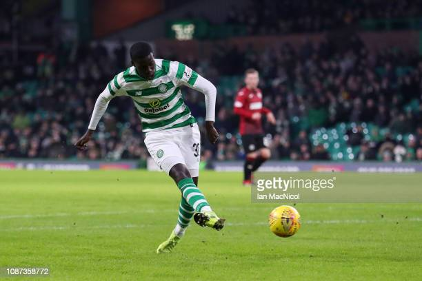 Timothy Weah of Celtic scores his team's fourth goal during the Ladbrokes Scottish Premiership match between Celtic and St Mirren at Celtic Park on...