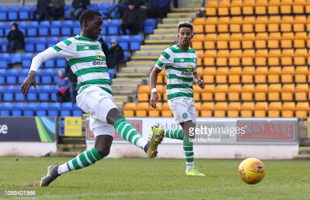 Timothy Weah of Celtic scores his team's second goal during the Ladbrokes Premiership match between St Johnstone and Celtic at McDiarmid Park on...