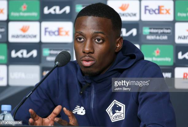 Timothy Weah of Lille answers to the media during the post-match press conference following the UEFA Europa League Round of 32 match between Lille...