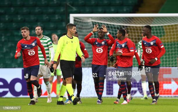 Timothy Weah of Lille celebrates after scoring their team's second goal with his team during the UEFA Europa League Group H stage match between...