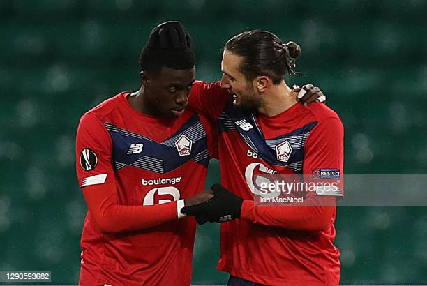 Timothy Weah of Lille celebrates with Yusuf Yazici after scoring their team's second goal with his team during the UEFA Europa League Group H stage...