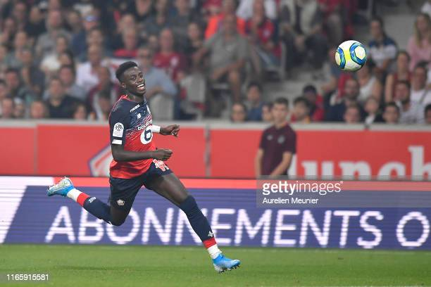 Timothy Weah of Lille runs with the ball during the Friendly match between Lille and AS Roma at Stade Pierre Mauroy on August 03 2019 in Lille France