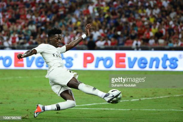 Timothy Weah of Paris Saint Germain in action during the International Champions Cup match between Arsenal and Paris Saint Germain at the National...
