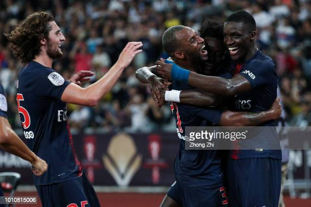 Timothy Weah of Paris SaintGermain celebrates his goal with teammates during the French Trophy of Champions football match between AS Monaco and...