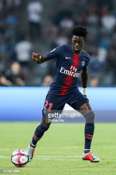 Timothy Weah of Paris SaintGermain in action during the match between Paris Saint Germain and Monaco at Shenzhen Longgang Sports Center on August 4...