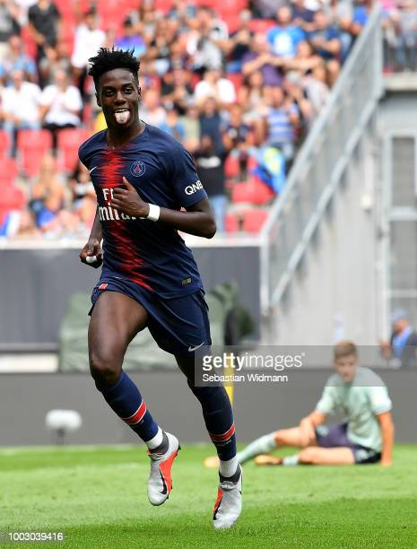 Timothy Weah of Paris SaintGerman celebrates after scoring his sides first goal during the International Champions Cup 2018 match between Bayern...