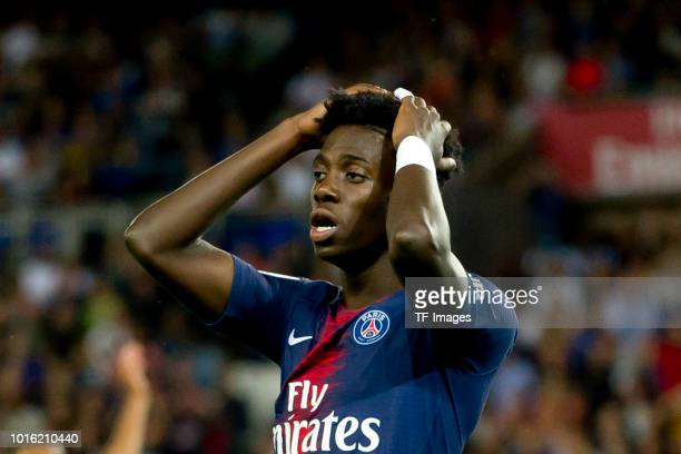 Timothy Weah of Paris St Germain gestures during the Ligue 1 match between Paris SaintGermain and SM Caen at Parc des Princes on August 12 2018 in...