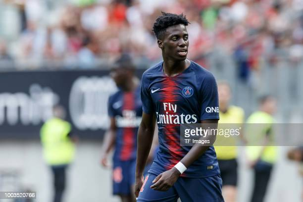 Timothy Weah of Paris St Germain looks on during the Friendly match between Bayern Muenchen and Paris St Germain at Woerthersee Stadion on July 21...