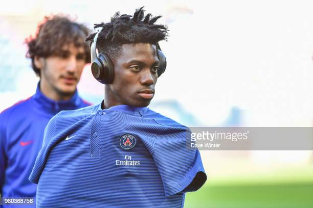 Timothy Weah of PSG and Yacine Adli of PSG before the Ligue 1 match between SM Caen and Paris Saint Germain at Stade Michel D'Ornano on May 19 2018...