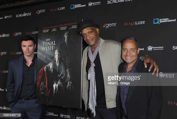 Timothy Woodward Jr Tony Todd and Jeffrey Reddick arrive for Screamfest Closing Night 'Final Wish' held at the TCL Chinese Theatre 6 on October 17...
