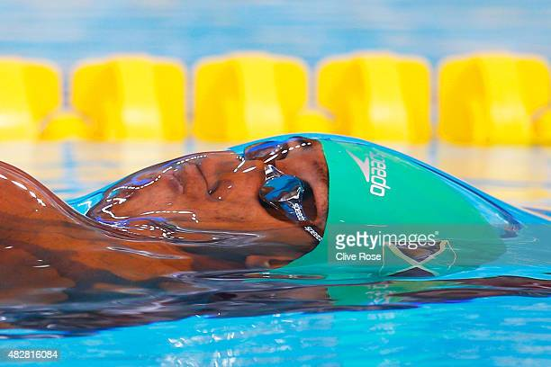 Timothy Wynter of Jamaica competes in the Men's 100m Backstroke Heats on day ten of the 16th FINA World Championships at the Kazan Arena on August 3,...