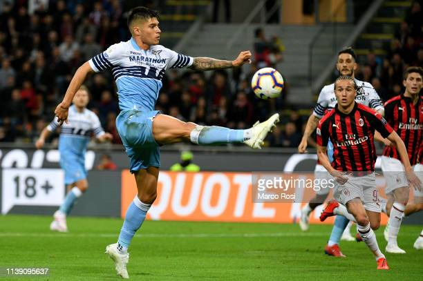 Tiémoué Bakayoko of AC Milan controls the ball of SS Lazio during the TIM Cup match between AC Milan and SS Lazio at Stadio Giuseppe Meazza on April...