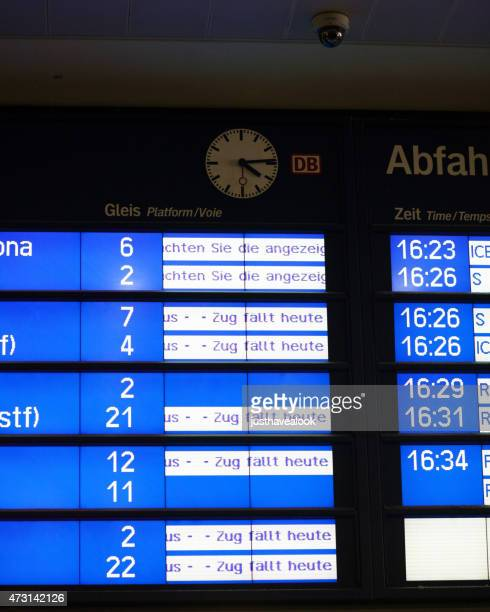 Timtable of Deutsche Bahn with cancelled trains because of strike