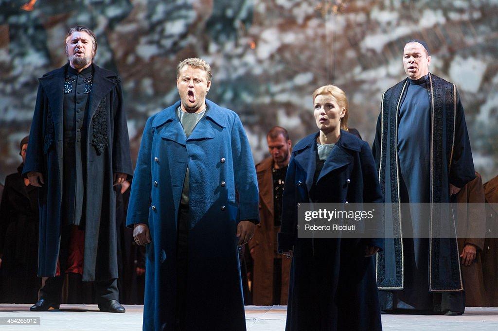Timur Abdikeyev and Sergey Semishkur of Mariinsky Opera perform during a photocall for 'Les Troyens' at the Edinburgh International Festival at Festival Theatre on August 27, 2014 in Edinburgh, Scotland.