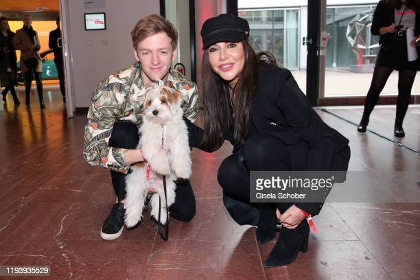 Timur Bartels and his dog Romeo and Simone Thomalla during the Instyle Lounge event during Berlin Fashion Week Autumn/Winter 2020 at Cafe Moskau on...