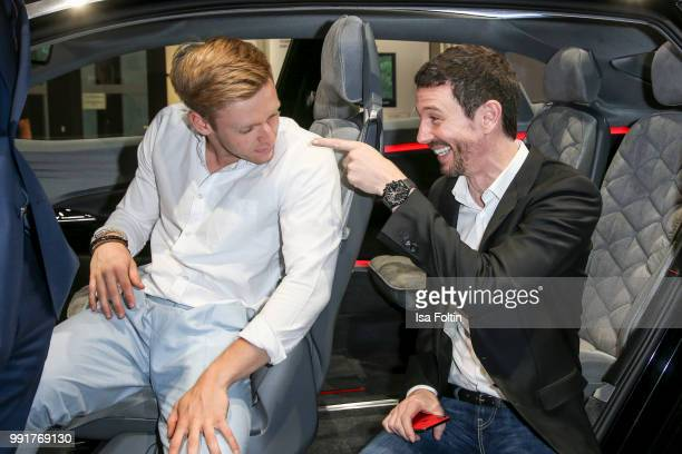 Timur Bartels and Oliver Berben during the exhibition preview of 'Driving Vizzions to Reality' at DRIVE Volkswagen Group Forum on July 4 2018 in...