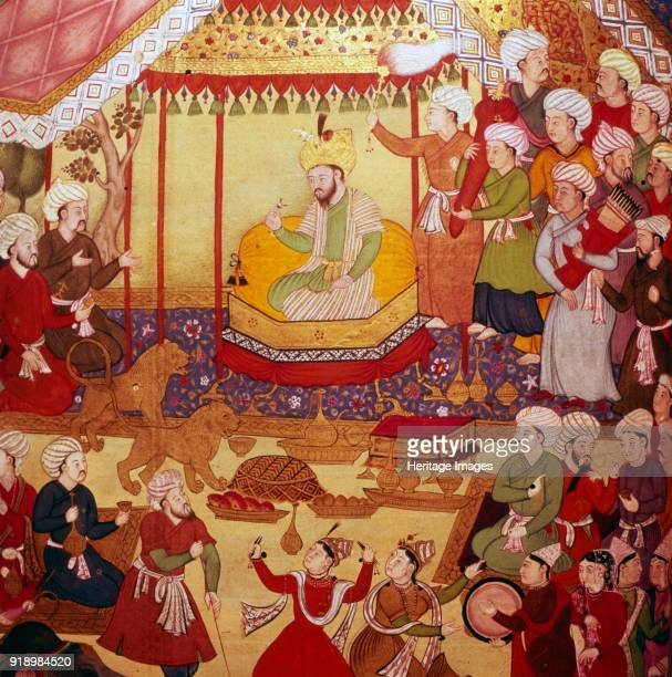 Timur enthroned during celebrations, Mughal manuscript, 1600-1601. Timur was a Turco-Mongol conqueror. At British Museum. Artist Unknown.