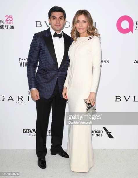 Timur Tillyaev and Lola KarimovaTillyaeva attend Elton John AIDS Foundation 26th Annual Academy Awards Viewing Party at The City of West Hollywood...
