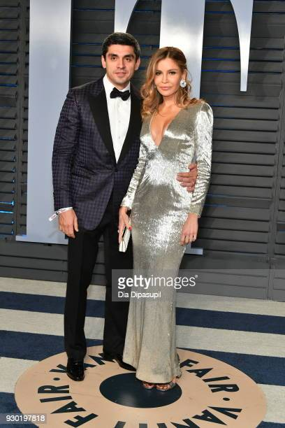 Timur Tillyaev and Lola KarimovaTillyaeva attend the 2018 Vanity Fair Oscar Party hosted by Radhika Jones at Wallis Annenberg Center for the...