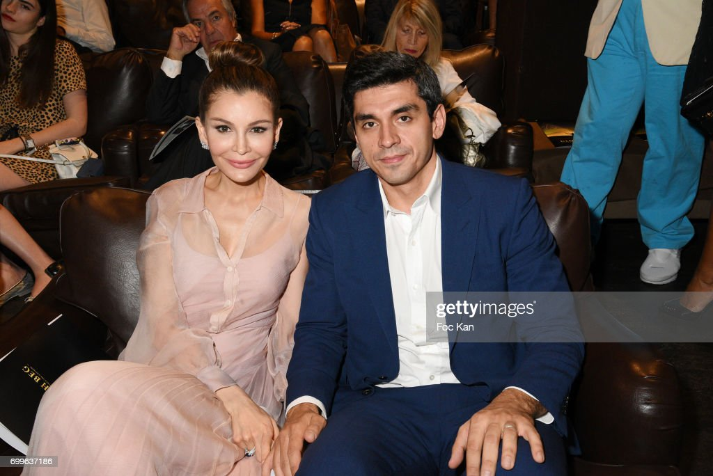 Timur Tillyaev (R) and Lola-Karimova Tillyaeva attend 'Ulugh Beg The Man Who Unlocked the Universe ' Screening Cocktail at Club 13 and Dinner at Hotel Hoche on June 21, 2017 in Paris, France.
