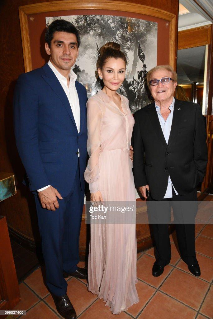 Timur Tillyaev, Lola-Karimova Tillyaeva and Orlando attend 'Ulugh Beg The Man Who Unlocked the Universe ' Screening Cocktail at Club 13 and Dinner at Hotel Hoche on June 21, 2017 in Paris, France.