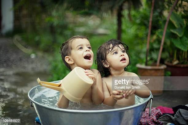 Tin bath in the yard