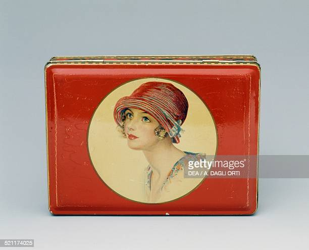Tin box for Lazzaroni biscuits with a female face Italy 20th century Italy