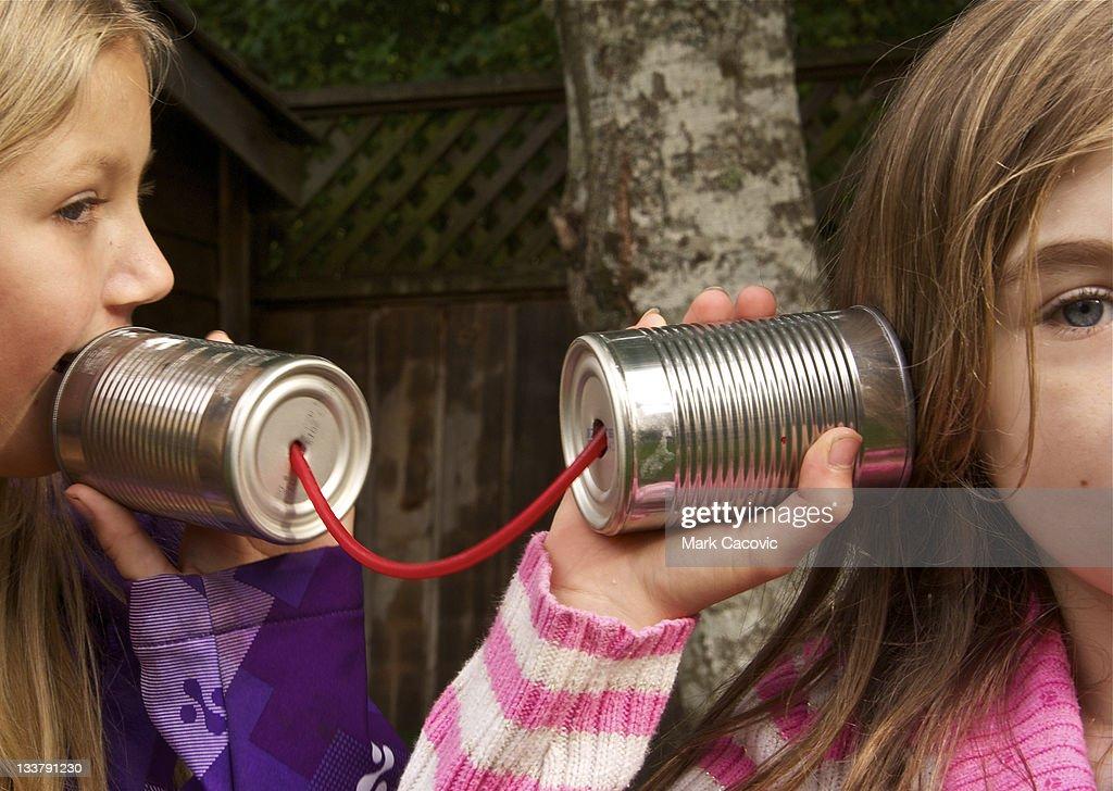 Tin can communication : Stock Photo