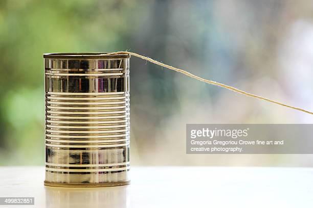 tin can phone - gregoria gregoriou crowe fine art and creative photography. bildbanksfoton och bilder