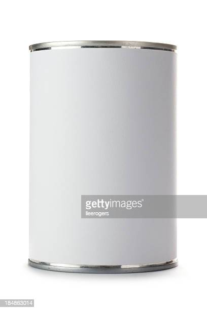tin can with a blank label on a white background - cylinder stock pictures, royalty-free photos & images