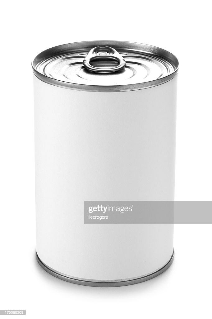 Tin can with a peel lid on a white background : Stock Photo