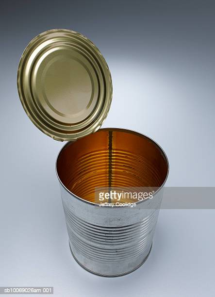 Tin can with open lid, studio shot
