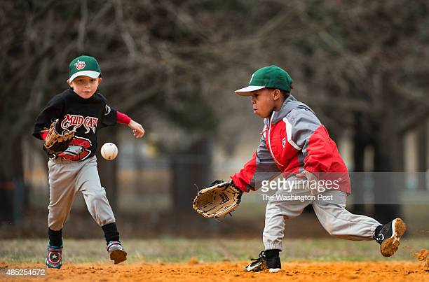 Tin Caps team members Joshua Drakeand Jayden Chesley both 5 go for a fly ball on the first day of coedvTball practice for boys and girls in Dunkirk...
