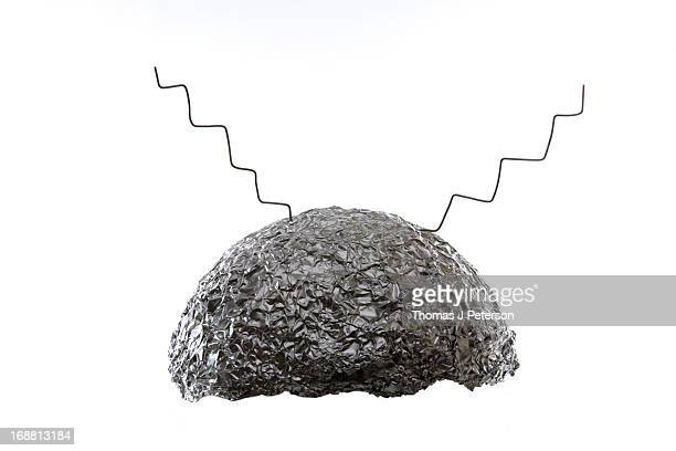 tin foil hat - hat stock pictures, royalty-free photos & images