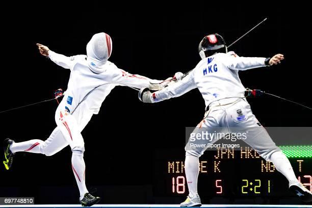 Tin Ho Ng of Hong Kong fences Kazuyasu Minobe of Japan during the Asian Fencing Championships 2017 on June 19 2017 in Hong Kong Hong Kong